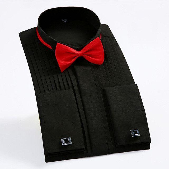 a65dc68c French Cuff Button Men Dress Shirts Long Sleeve Men's Tuxedo Shirts Male  Wedding bridegroom Shirts white black
