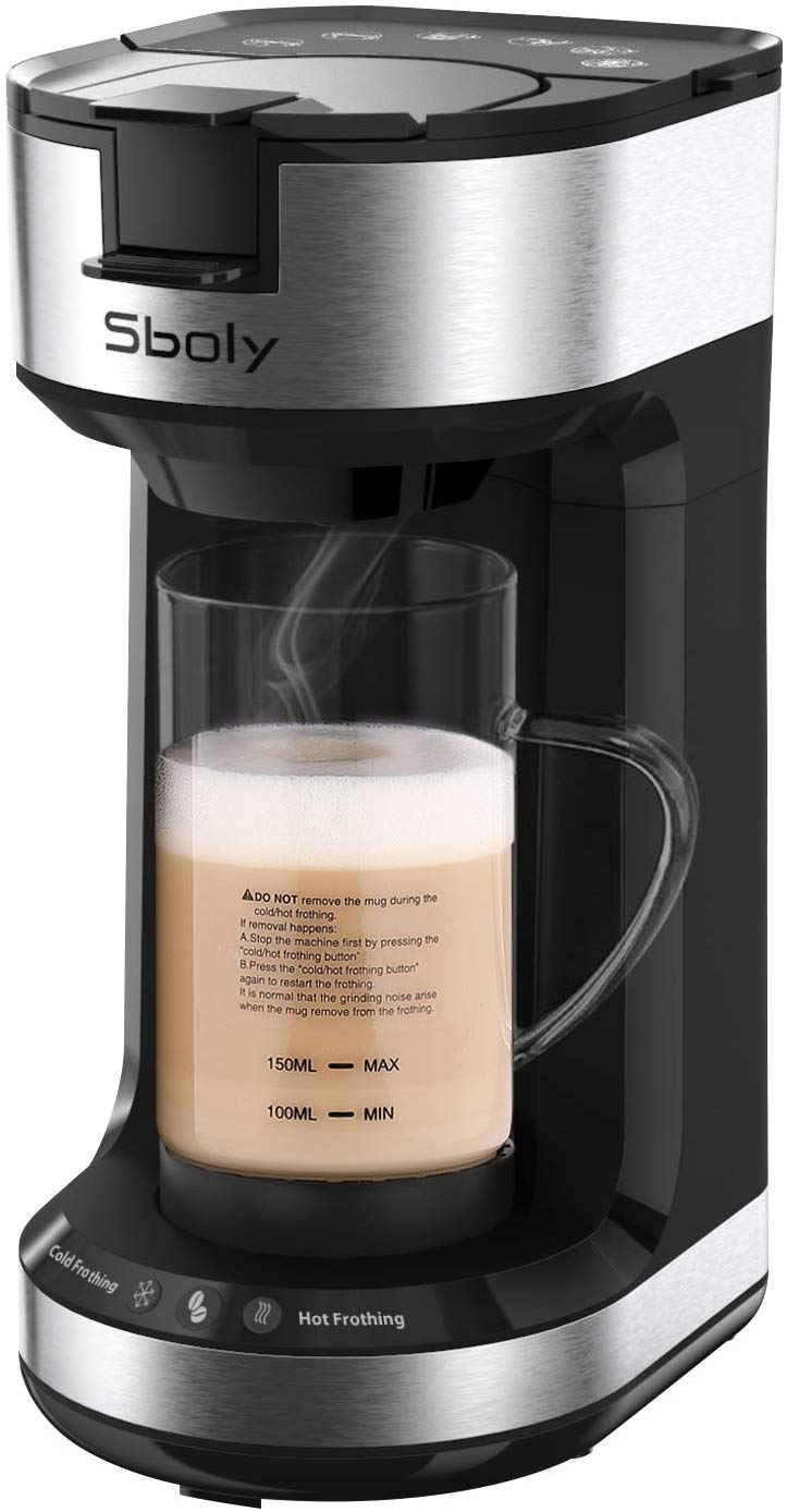 Single Serve Coffee Maker with Milk Frother by Sboly