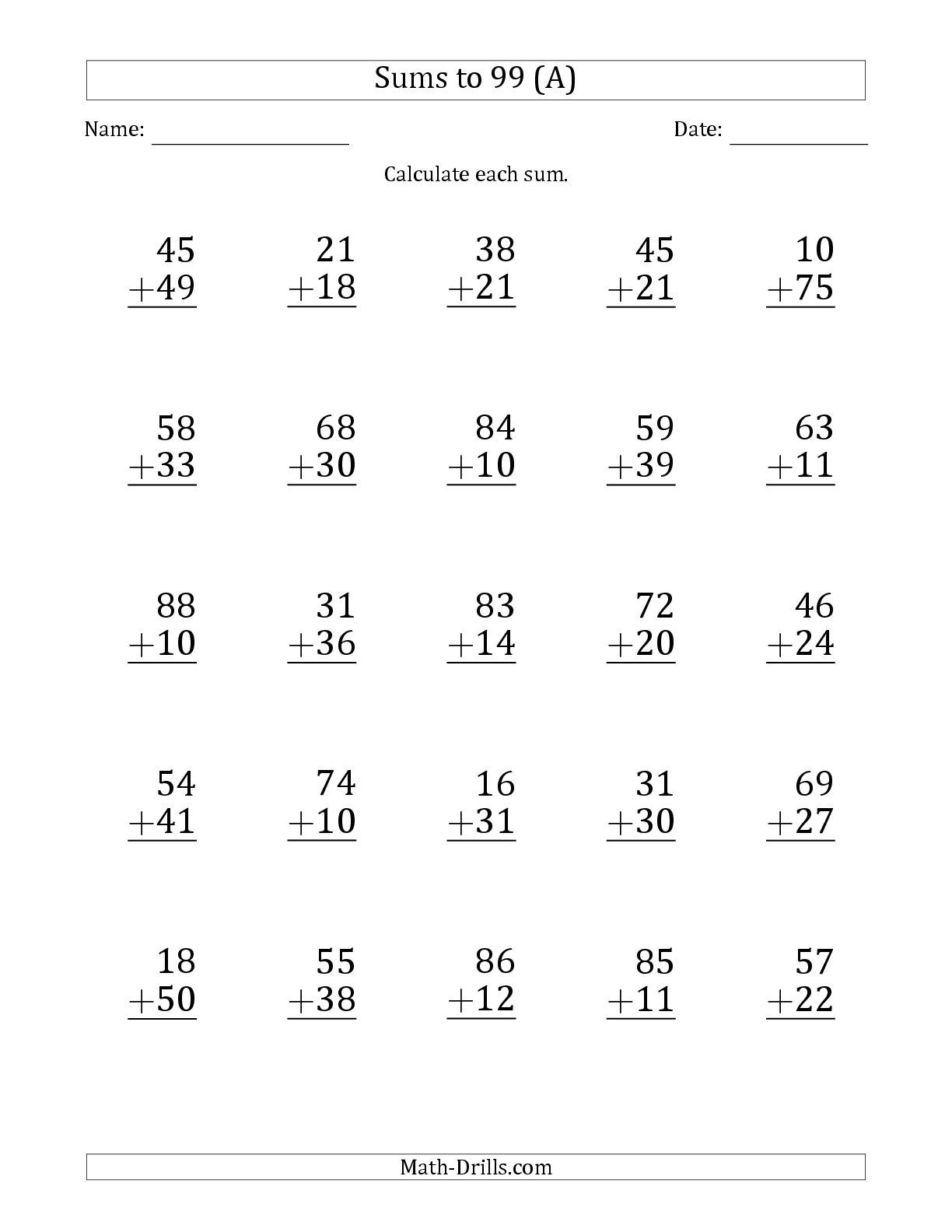 The Large Print - Adding 2-Digit Numbers with Sums up to 99 (25 Questions)  (A) math worksheet from the…   Math worksheets [ 1584 x 1224 Pixel ]