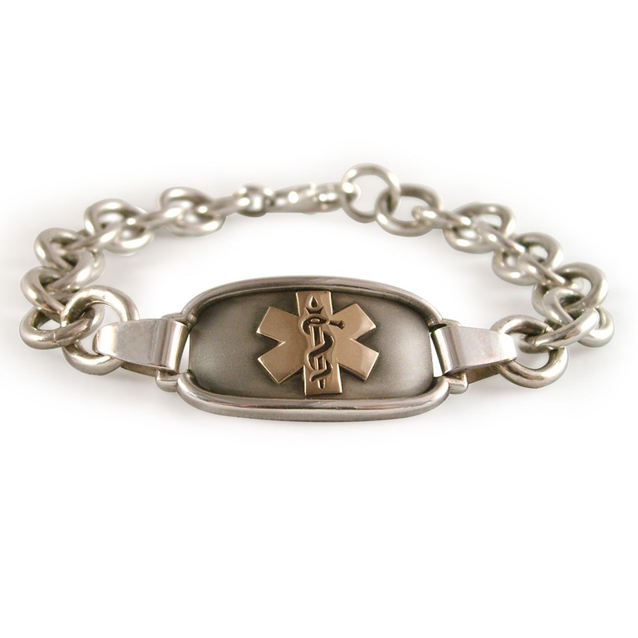 Simple cable chain medical id bracelet for women in gold or silver