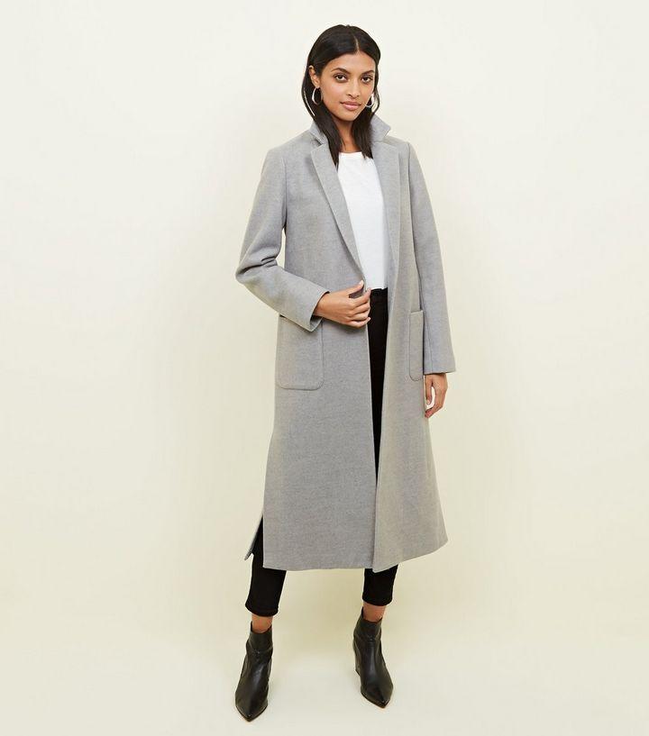 fedf3bd921d3e5 Pale Grey Bar Back Revere Collar Maxi Coat | A/W fashion wish list ...