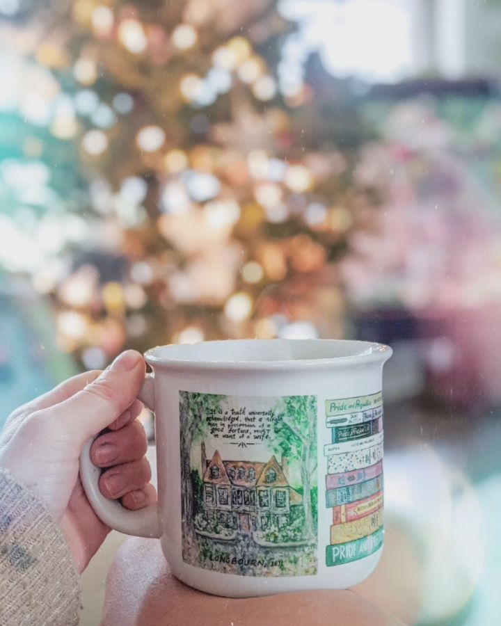 Pride and Prejudice Mug by Sweet Sequels  . . . . . #christmasbreak #coffeeholic #coffeelovers #coffee #coffeetime #christmastree #christmasdecor #christmasgifts #christmasfeeling #christmasiscoming🎄 #bookish #books #janeausten #prideandprejudice #etsymakers #smallbusinessowner #smallbusinesswomen #supportsmallbusiness #bossmom #mommode #mompreneur #momboss #reading📖