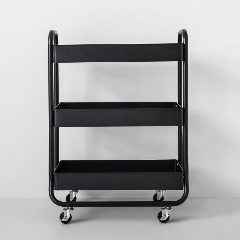 Wide Metal Cart With Wheels Black Made By Design In 2020 Metal Cart Pot Storage Made By Design