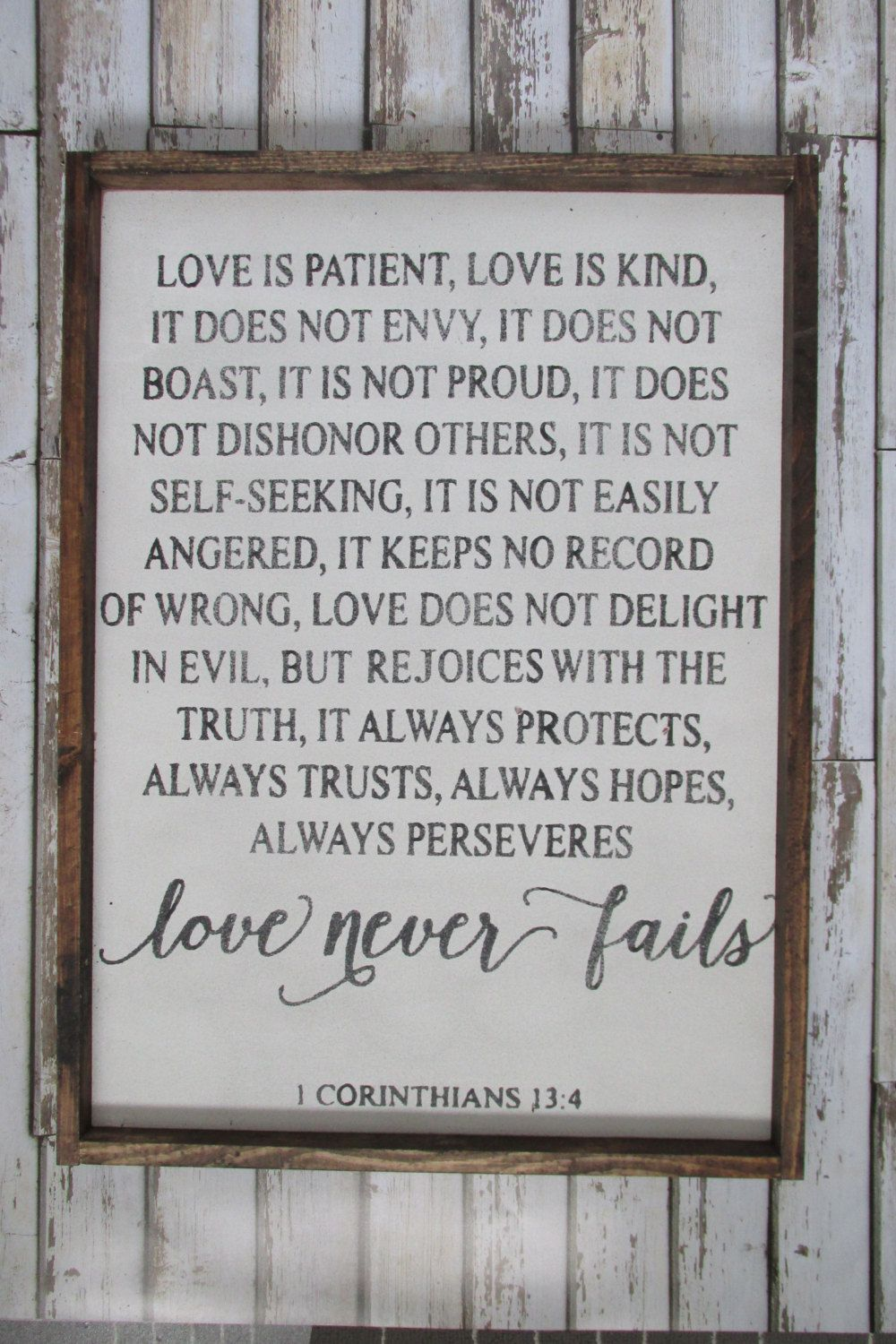 Love is patient love is kind corinthians verse wood - Rustic country bedroom decorating ideas ...