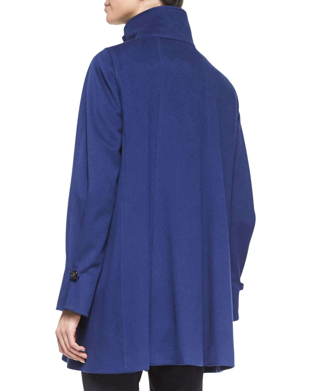 Funnel-Collar Swing Coat, Arles Blue