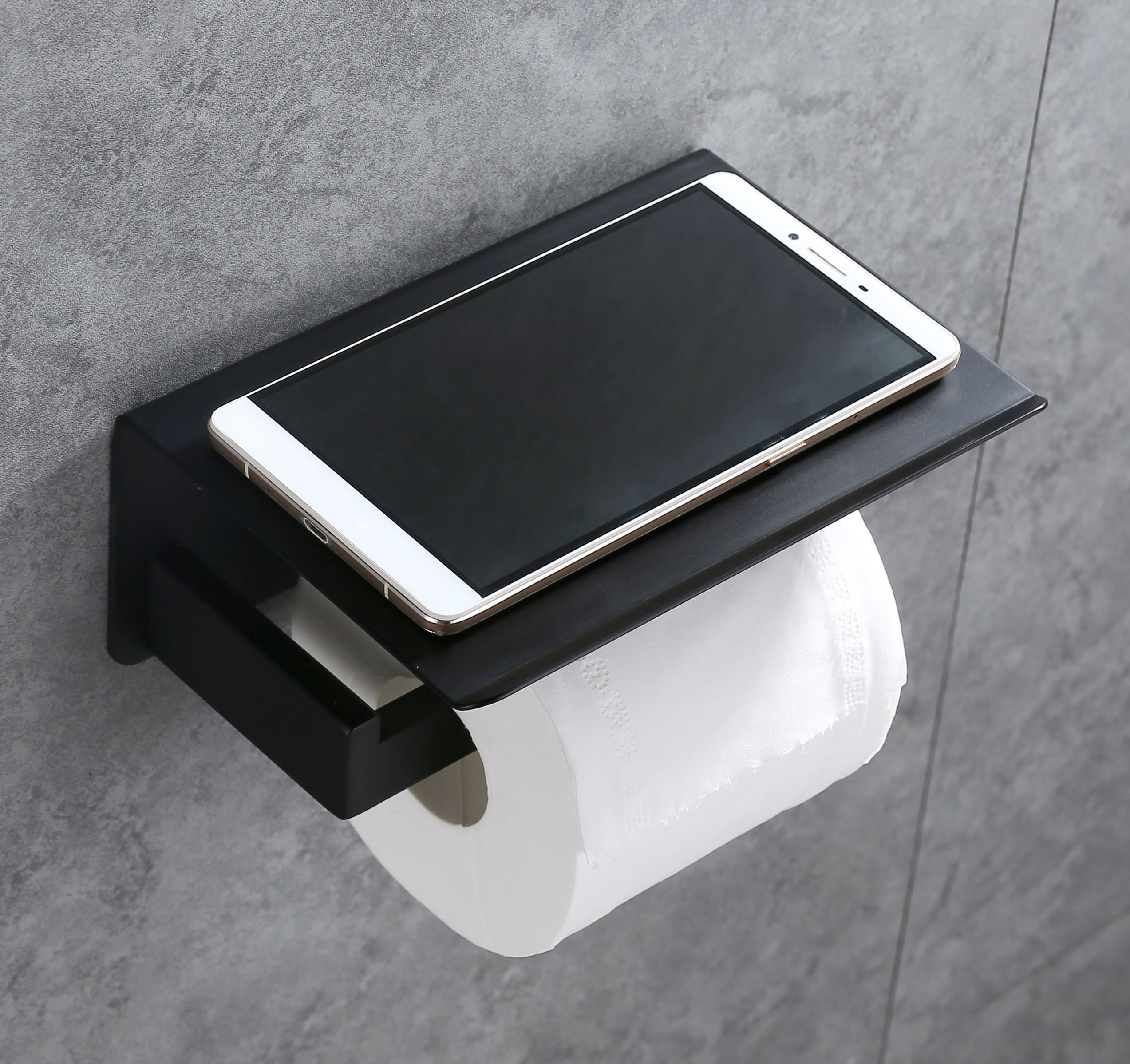 Toilet Paper Holder Sus304 Stainless Steel Bathroom Paper Tissue Holder With Mobile Phone St Toilet Paper Holder Stainless Steel Bathroom Matte Black Bathroom