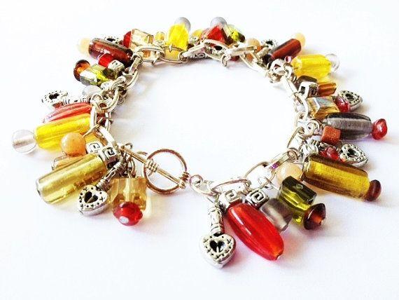 Chunky Beaded Charm Bracelet Autumn Beaded Fall by MetalMomJewelry, $35.00