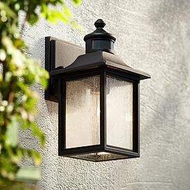 Moray Bay 11 1 2 H Black Motion Sensor Outdoor Wall Light 42f25 Lamps Plus In 2021 Outdoor Wall Lighting Wall Lights Led Outdoor Wall Lights