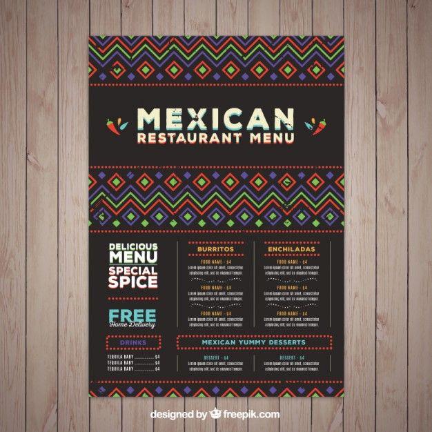 Plantilla de menú mexicano con formas étnicas Vector Gratis ...