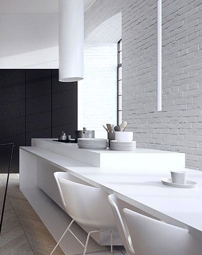 White clean minimal kitchen dining table--love the white painted