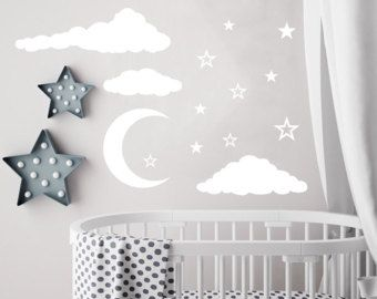 Cloud Wall Decal Moon And Stars Decals Nursery Decor Night Sky Clouds Baby Room Sticker Playroom Kp3