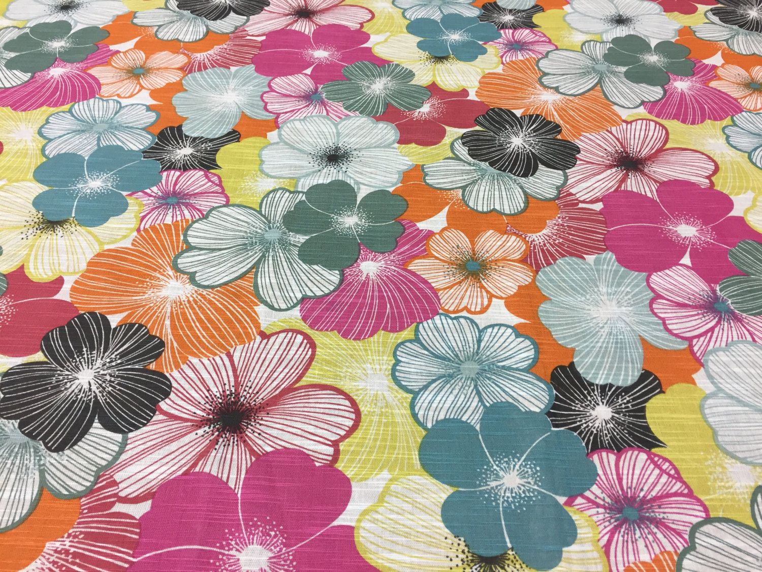 Colorful Tablecloth Spring Tablecloth Tablecloth With Gray Pink Yellow Orange Black Striped Flower Modern Tablecloth Great Gift Pink Yellow Modern Tablecloths Floral Fabric