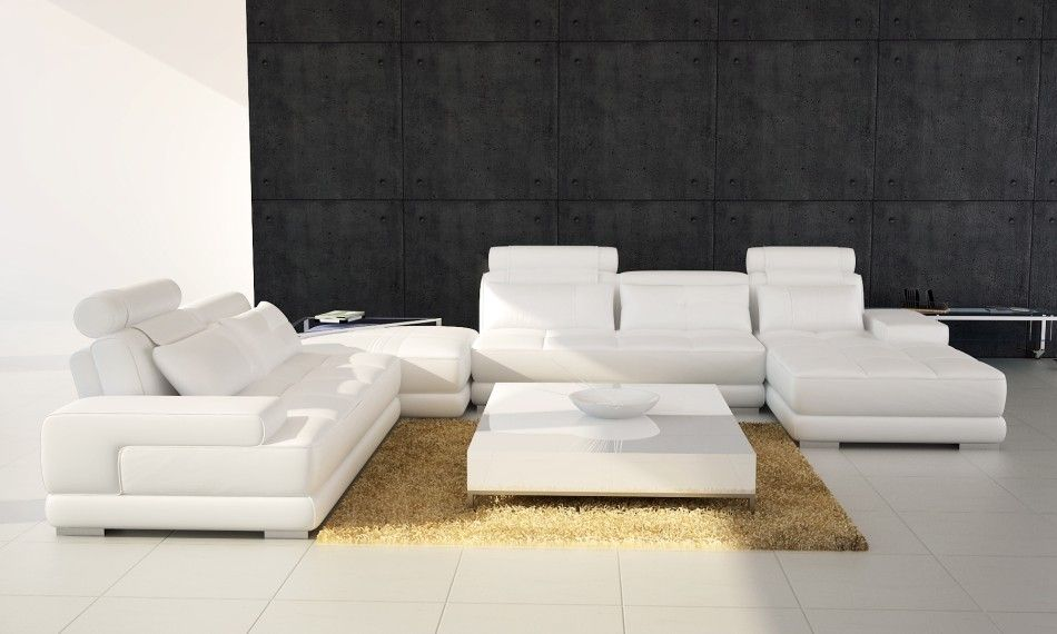 phantom contemporary grey leather sectional sofa w ottoman tables with shelves home modern sofas living room