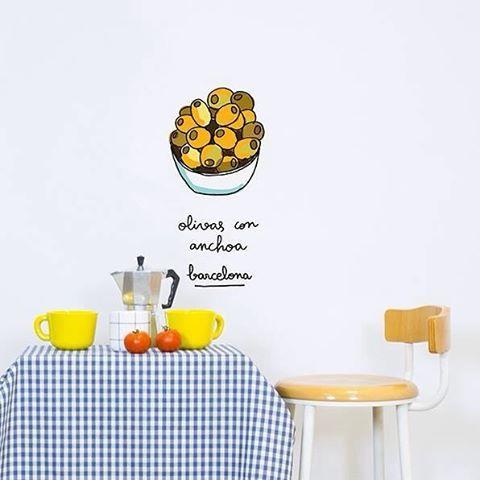 - ¿Te apetecen unas olivas con anchoa? - ¡Siempre! - ¿Te las servimos en plato o en vinilo?  >>> New Barcelona Collection <<< #chispum #barcelona #tapas