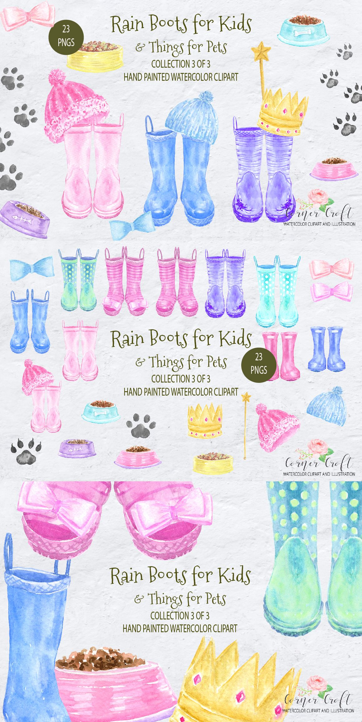 Rain Boots For Kids And Things For Pets Kid S Wellies Watercolor