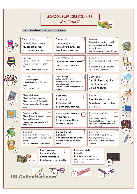 What Am I? (School Supplies Riddles) | Esl | Pinterest | School ...