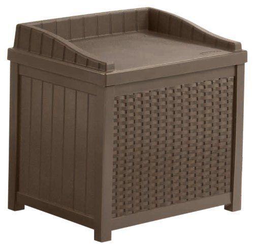 Storage Seat Box Resin Wicker 22 Gallon Outdoor Furniture Patio