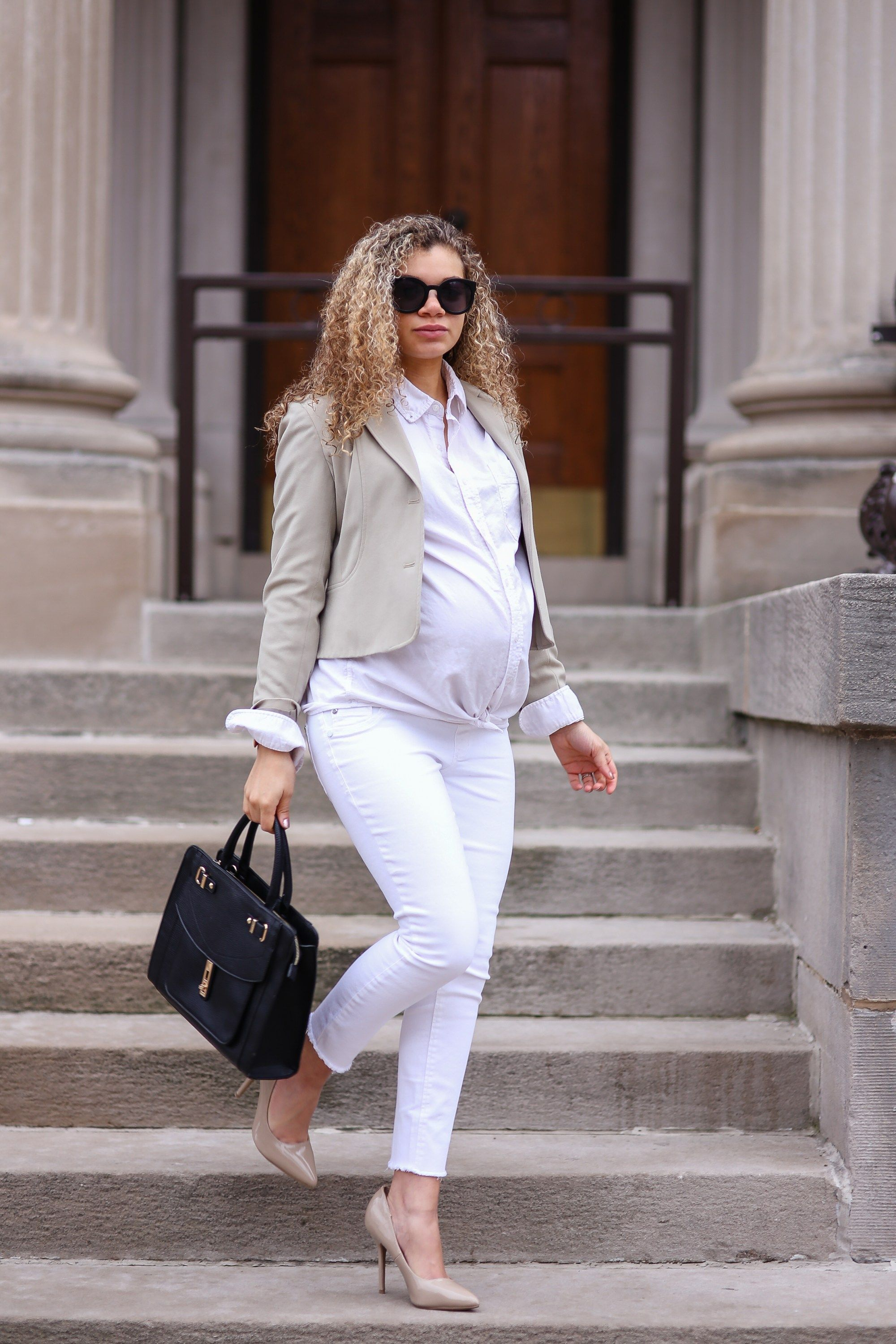 2 Chic Ways To Wear White Jeans To Work My Chic Obsession Maternity Work Clothes Casual Maternity Outfits Maternity Business Attire