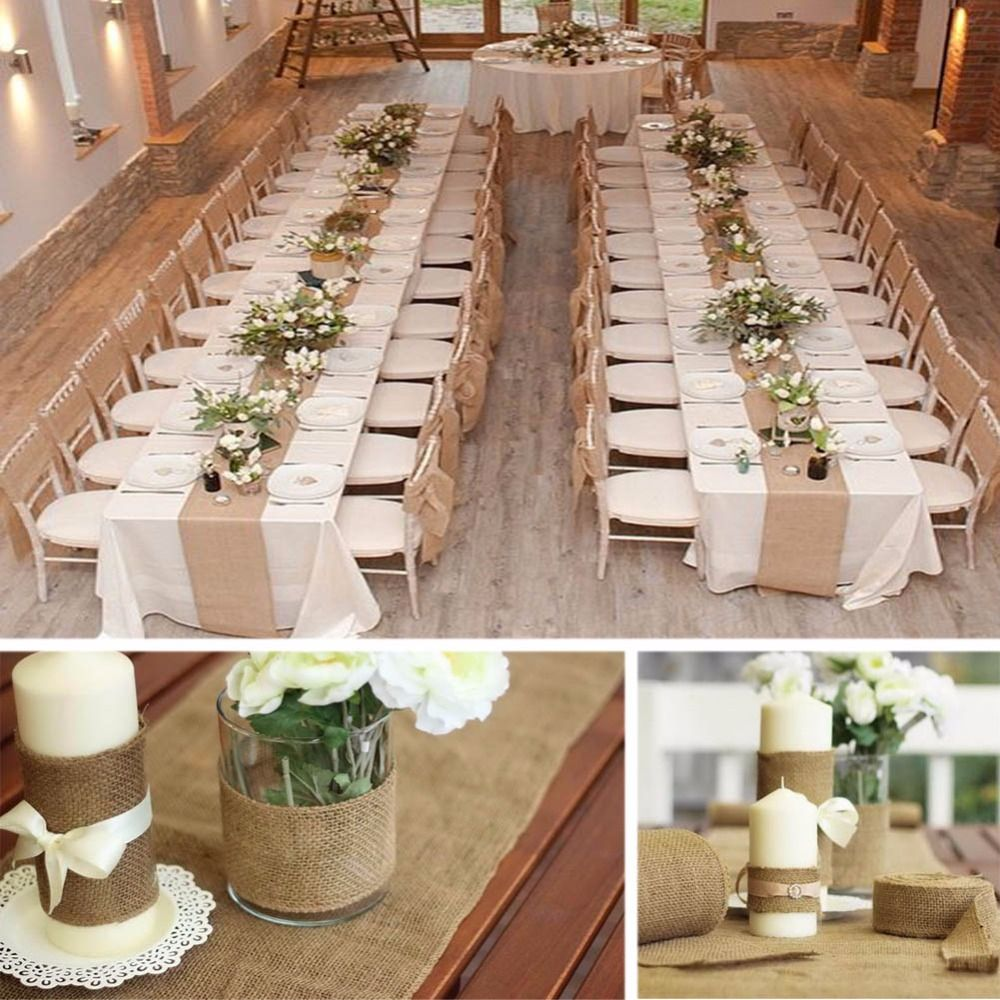 Diy Burlap Wedding Ideas: 10M*33CM Vintage Hessian Jute Burlap Roll For Wedding