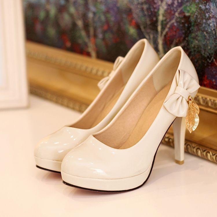 3e050010a44 Patent Leather Women Pumps Platform Bowtie Tassel High Heels Spike ...