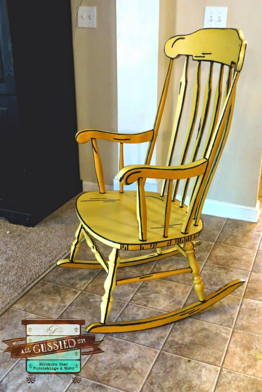 Illustrated 3D Rocking Chair Chalk Painted Furniture