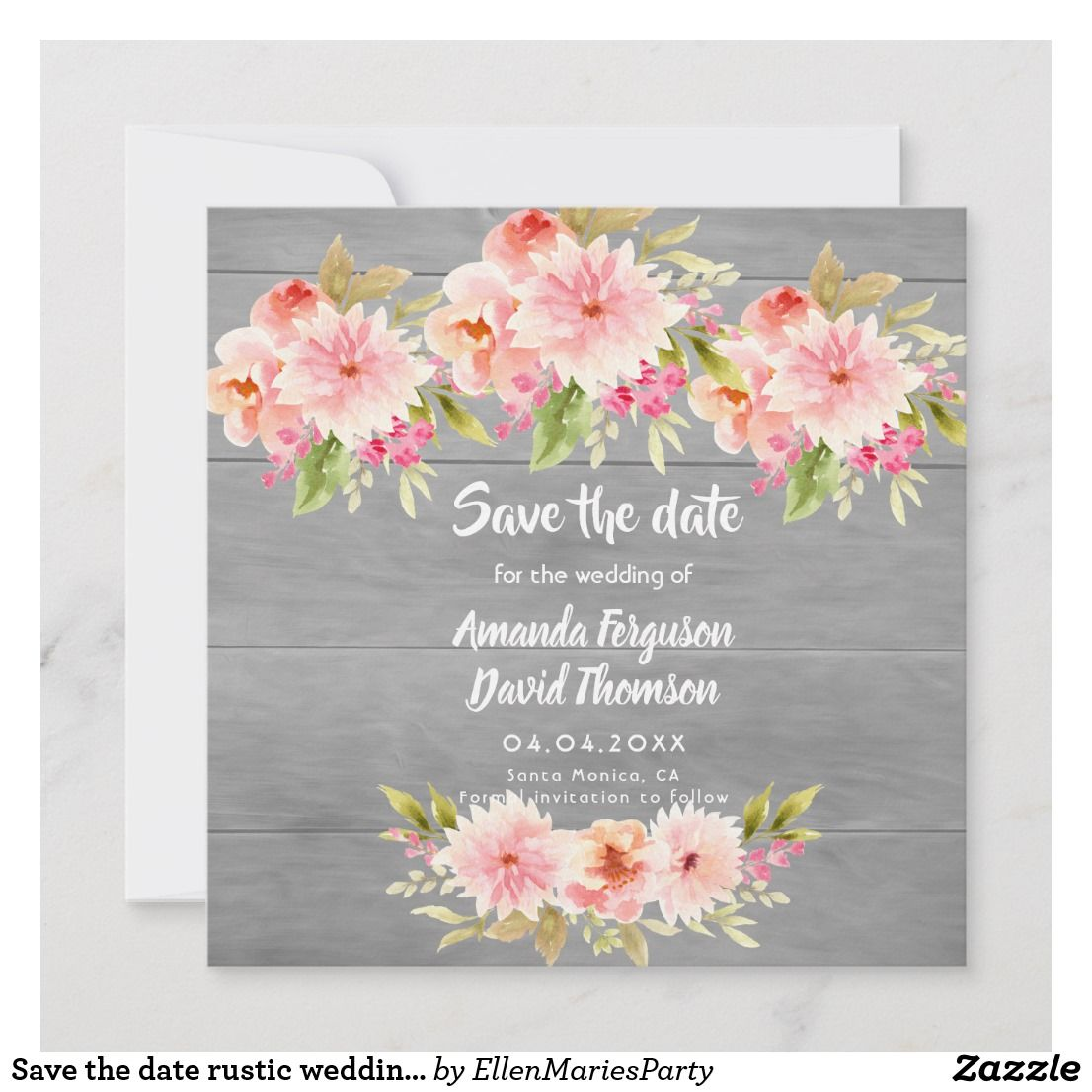 Rustic Save-the-Date Card Floral Save the Date Cards Printed Card with Envelopes Pink and Gold Geometric Engagement Announcement
