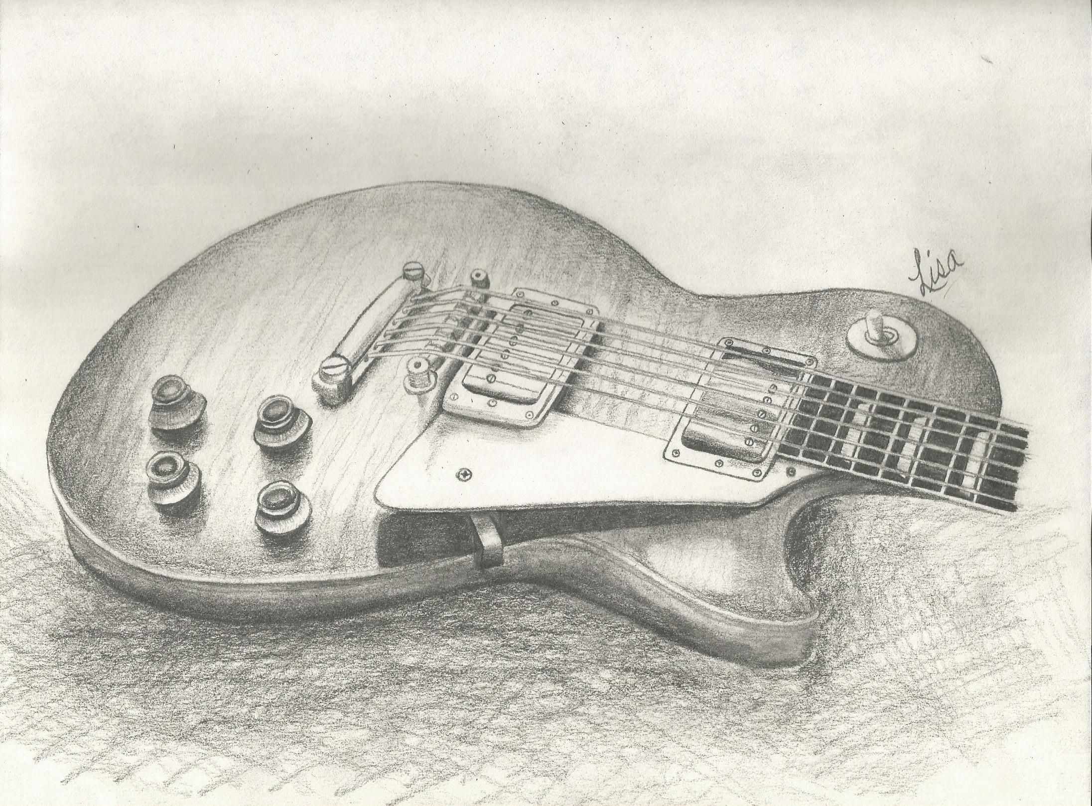 A Pencil Drawing Of 1959 Gibson Les Paul By Lisam Tatoo Toggle Switch Chrome For 3 Pickup Black Tip Ace Frehley