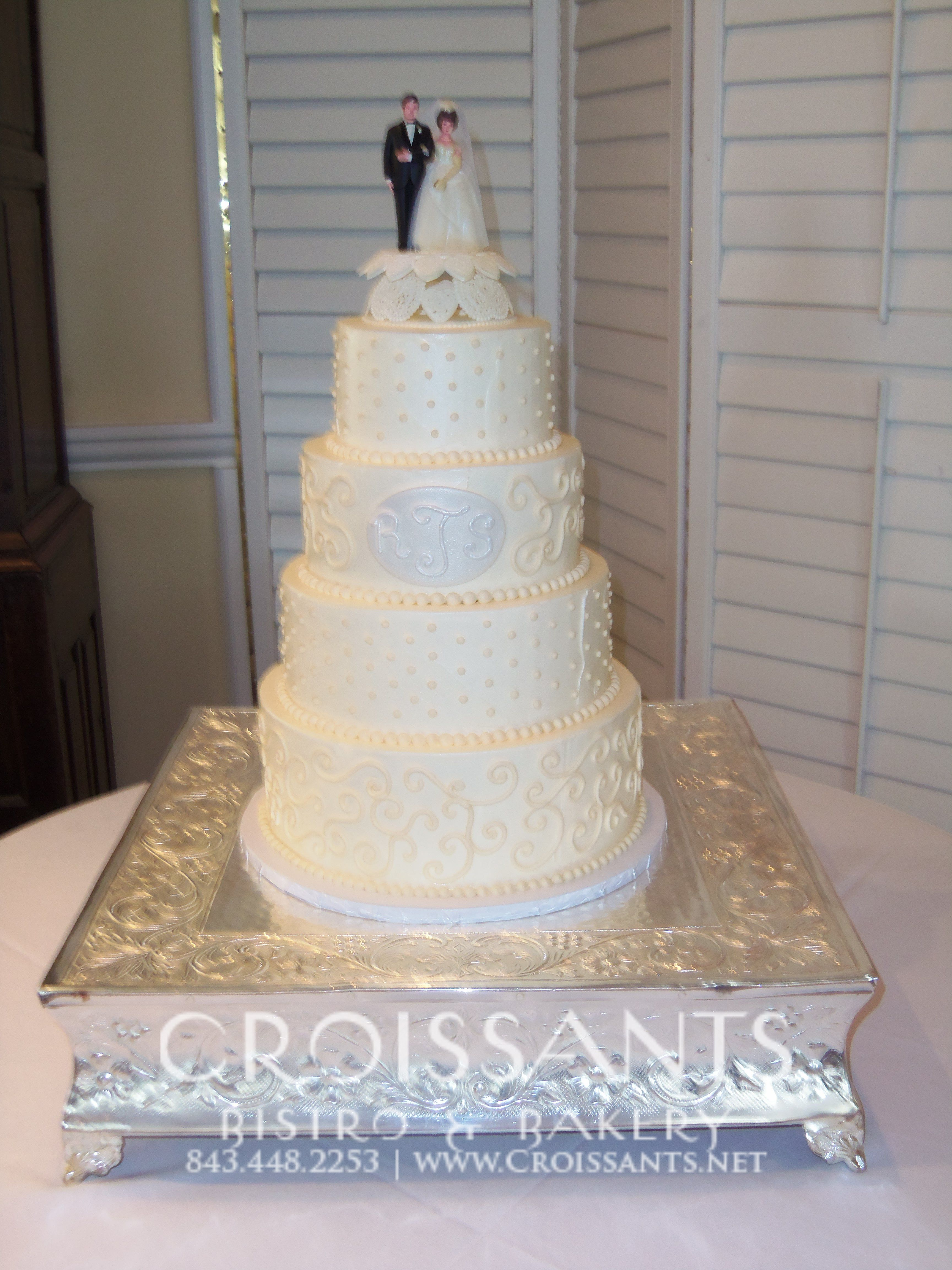 Traditional Wedding Cake By Croissants Bistro Bakery Myrtle Beach
