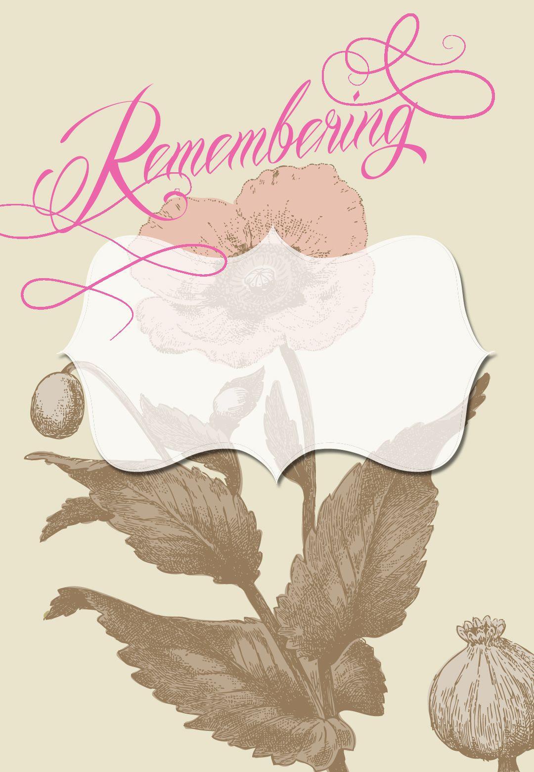 Graceful Anemone Free Printable Memorial Card Template Greetings
