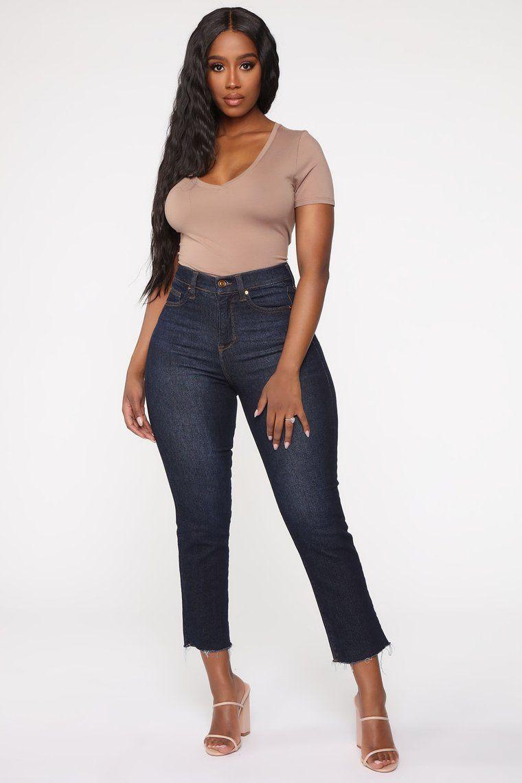 Carrie V Neck Top - Taupe - Basic Tops & Bodysuits - Fashion Nova