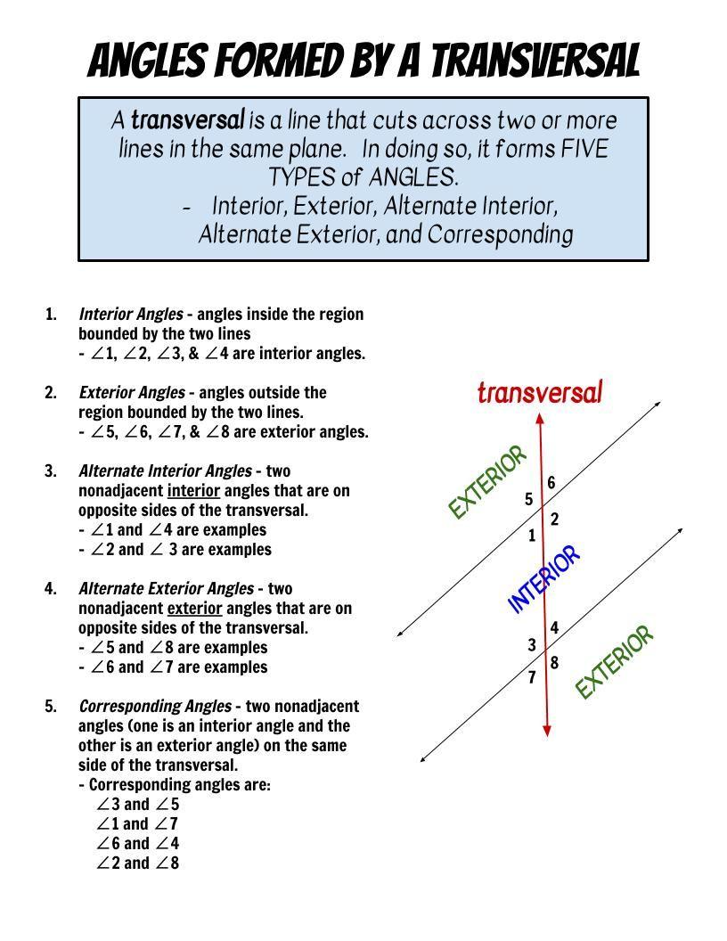 Transversal Angles Types Of Angles Math Angles