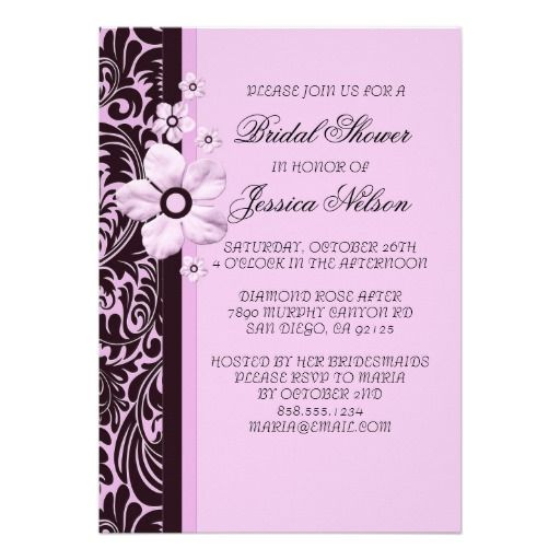 Luxury Trendy Purple Floral Damask Shower Invite Cards