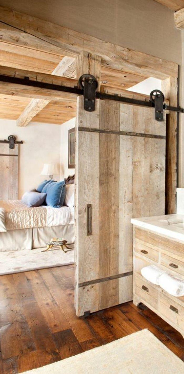 porte coulissante galandage pour la chambre a coucher rustique - Faire Une Porte Coulissante Avec Une Ancienne Porte