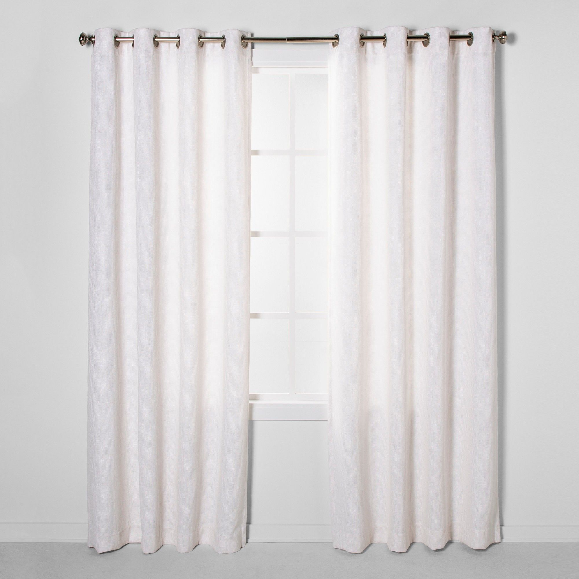84 X50 Luster Basket Light Filtering Weave Curtain Panels Cream