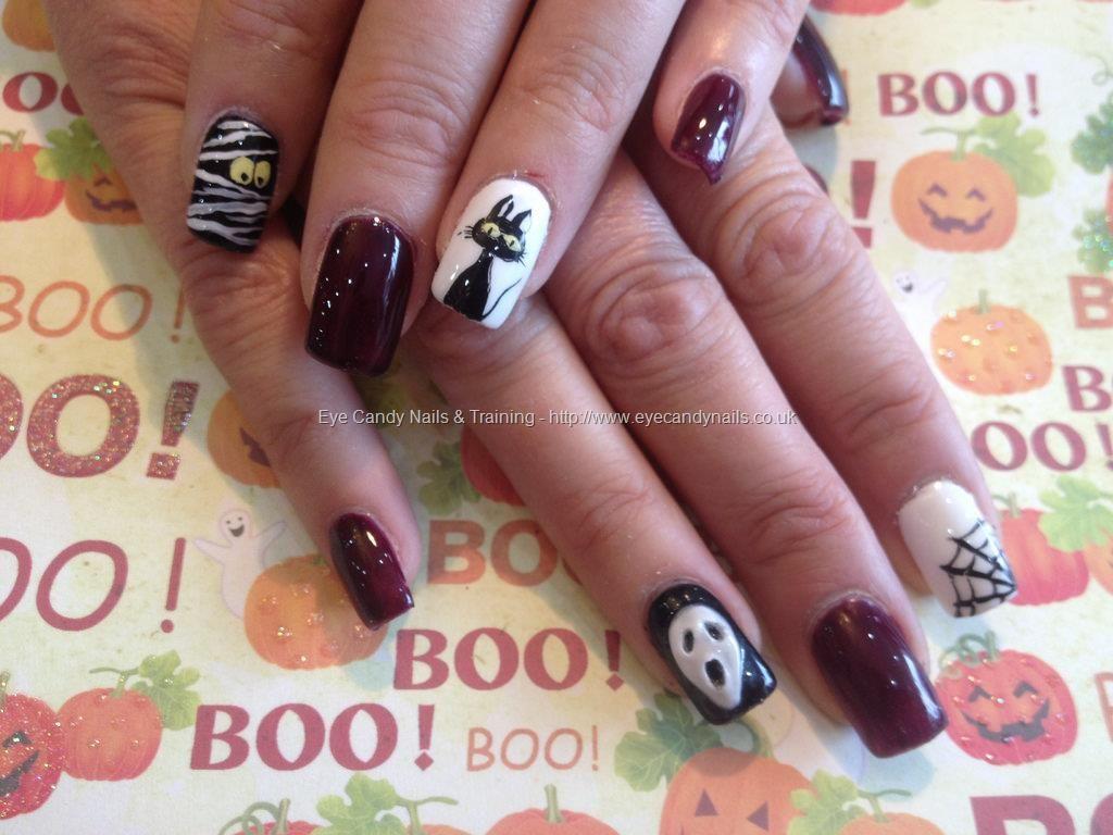 Acrylic nails with Halloween nail art Eye Candy Beautiful Nail Art