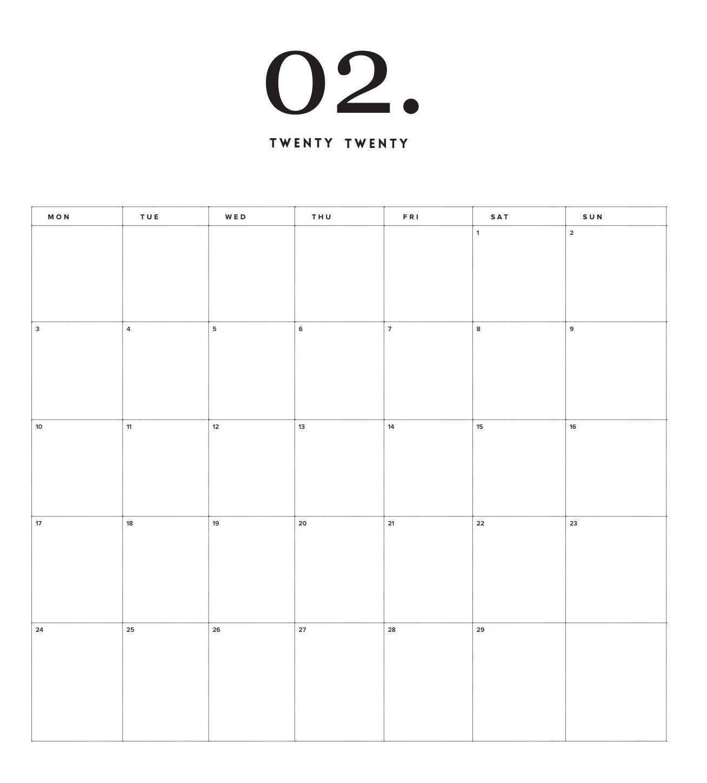 Modern Minimal 2020 Printable Calendar Shablony Kalendarej