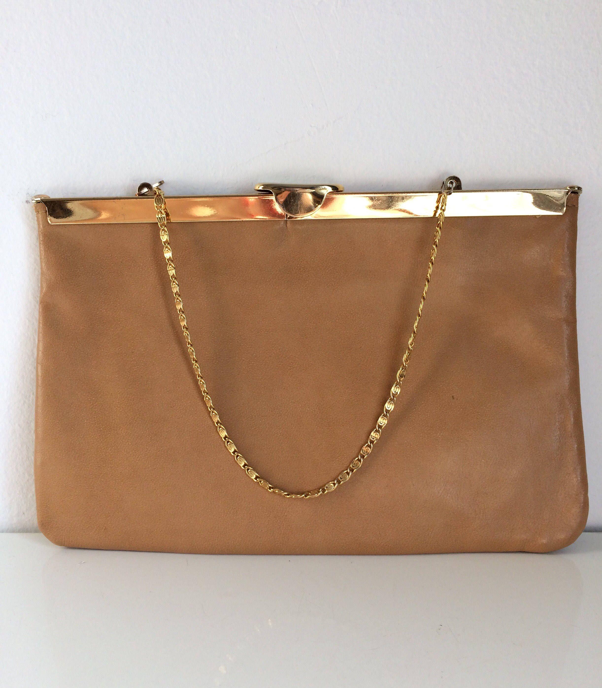 Vintage Tan Handbag Vegan Leather Purse Faux