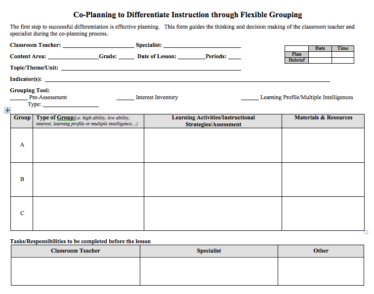 Co Planning To Differentiated Instruction Through Flexible Grouping