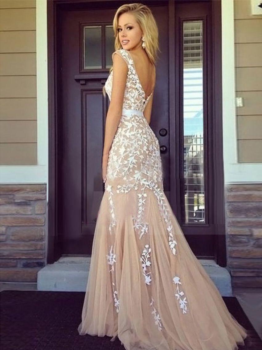 Trumpetmermaid scoop sleeveless tulle prom dresses belle robe de