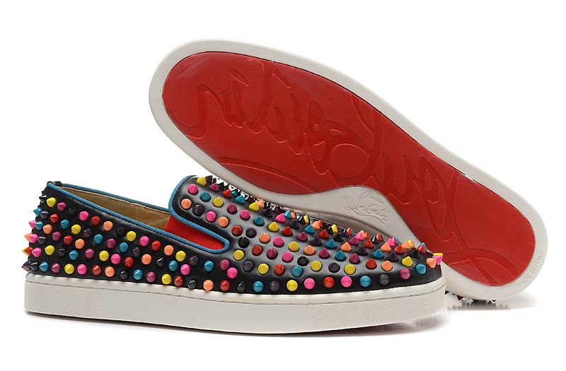 70ecee14a2db Christian Louboutin Roller-Boat Multi Spikes Leather Mens Flat Sneakers  Black