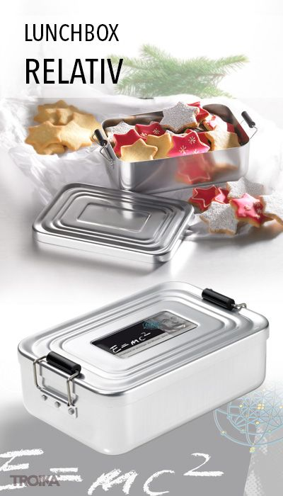 TROIKA RELATIV. Lunchbox with clip-lock, with design sticker, aluminium *** Lunch-Box mit Bügelverschluss, mit Dekor, Aluminium