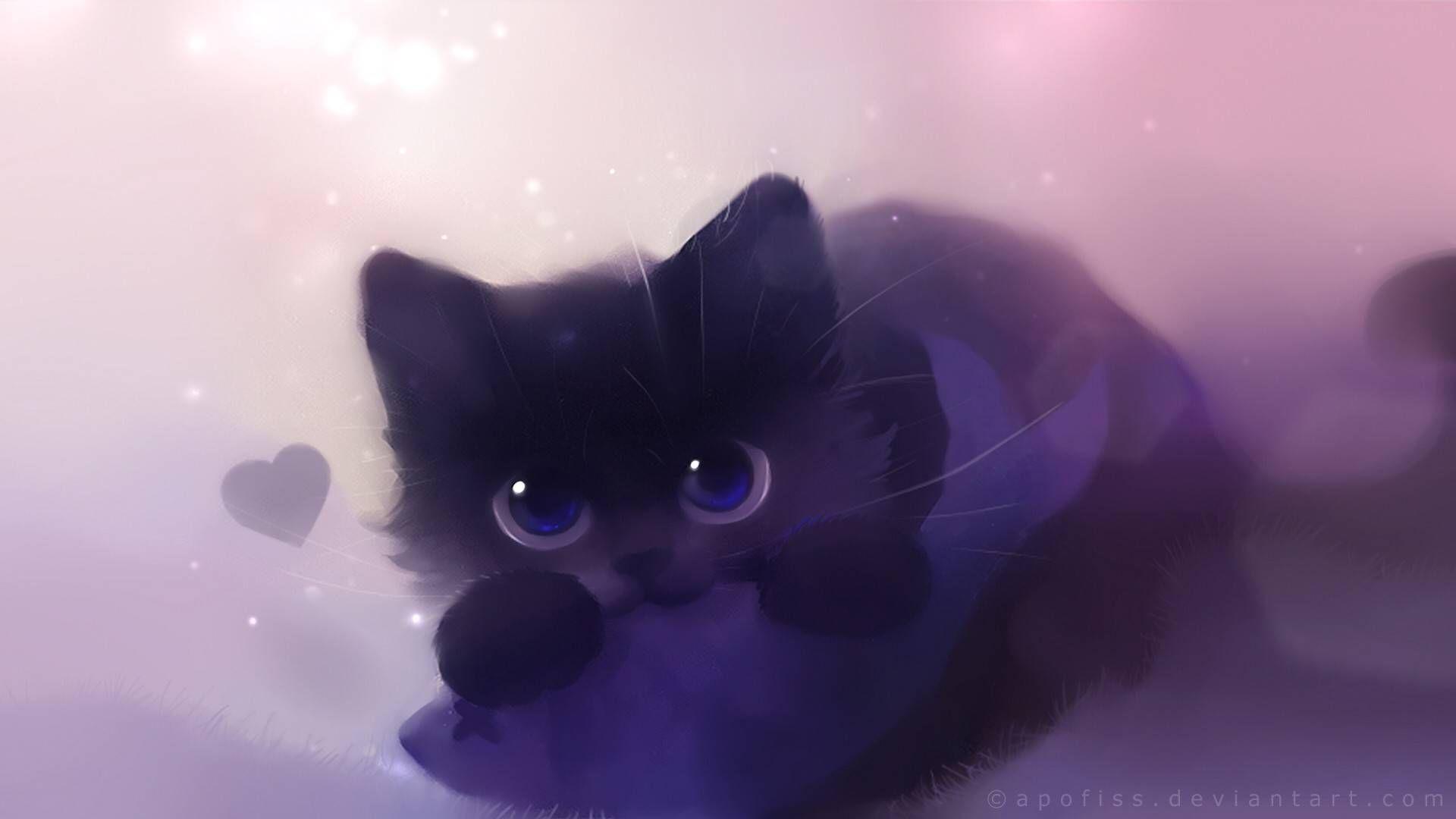 Cute Anime Cat Wallpaper In 2020 Black Cat Anime Cat Art Cute Anime Cat