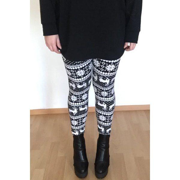 Wholesale Stylish Women's High Waist Geometrical Print Christmas Leggings Only $3.18 Drop Shipping | TrendsGal.com