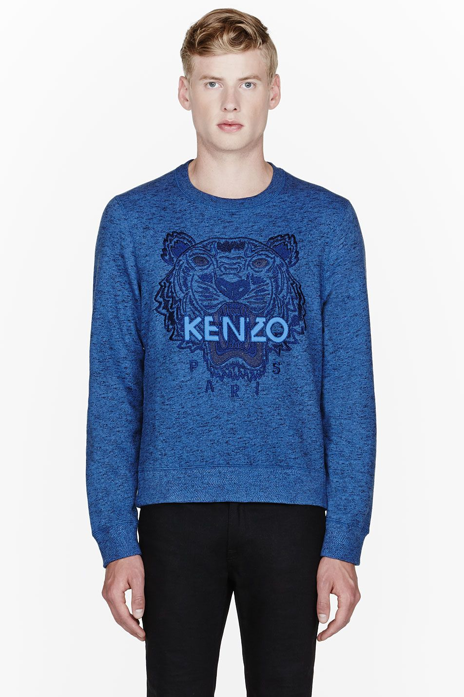4e44ad663bf Kenzo Blue Classic Embroidered Tiger Crewneck Sweatshirt for men | SSENSE