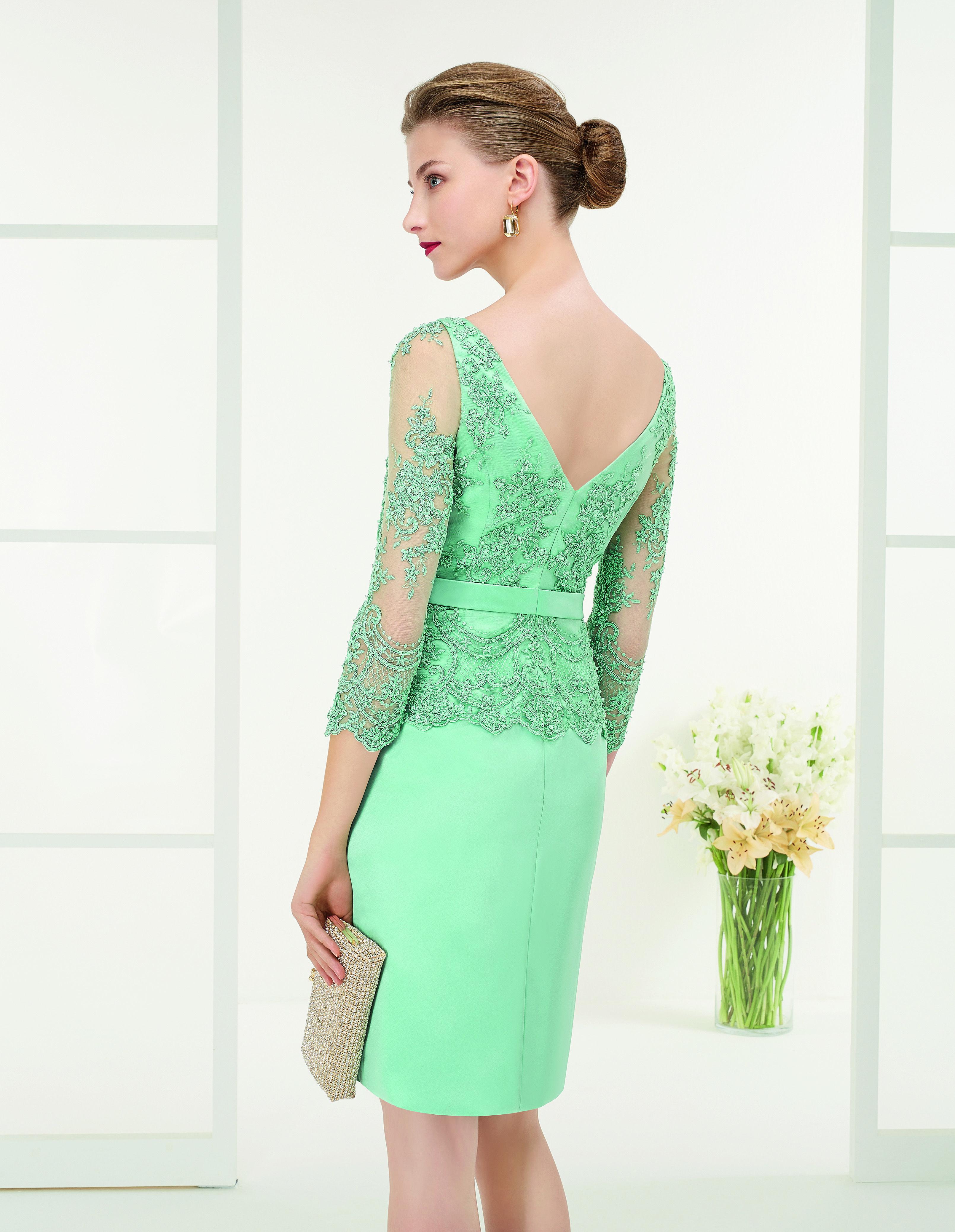 Modelo 9G1B1| vestido de fiesta en raso, encaje y pedrería | Couture ...