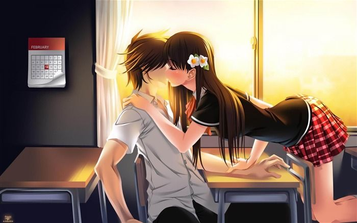 Anime Couple Kissing Collection Picture Desktop Wallpaper Anime