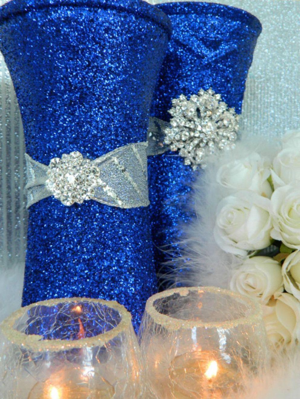 25th wedding decoration ideas  Wedding Centerpieces Blue And Silver  wedding Ideas Summer