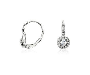 Blue Nile Diamond Vintage-Inspired Teardrop Earrings in 14k White Gold (1/3 ct. tw.) kGgGWzWVTb
