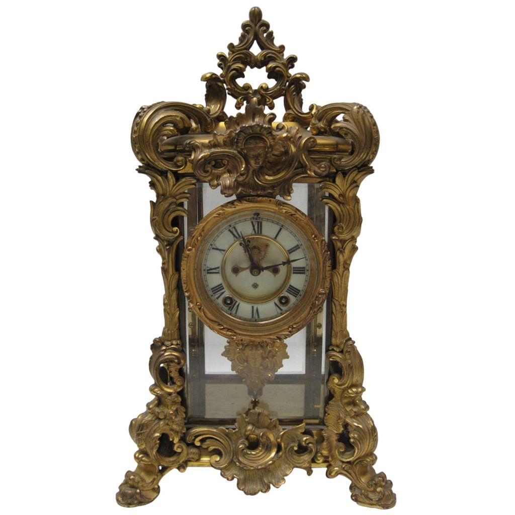 American Ansonia Shelf Clock in Ornate French Style Case  -  c 1900