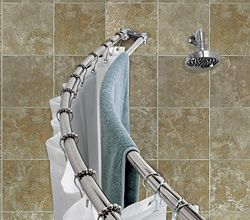 And Now Ive Found My Towel Rack Solution For Tiny Bathroom Double Curtain Rod